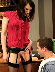 Brand new Ts Talent, Dina Swift, debut audition. She shoves her cock down her student's throat, jerks him off and pounds his ass.