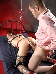 Tied up Jasmine gets sucked and fucked hard