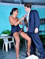 Horny ebony TS Kamily fucking Eduardo in her office