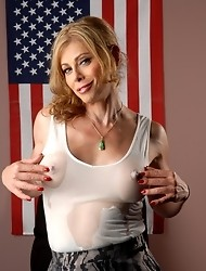 Sexy TMILF Jasmine Jewels posing in a wet t-shirt