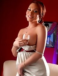 Sweet Mia Isabella Having A Glass Of Champagne