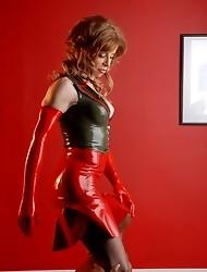 Beautiful Jasmine Jewels posing in sexy latex costume
