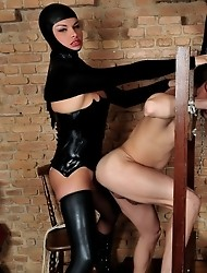 Two Shemale Mistresses Abusing Their Slave
